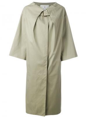 Пальто с поясом на горловине Tsumori Chisato. Цвет: зелёный