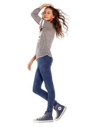 Легинсы ARIZONA. Цвет: джинсовый с рисунком