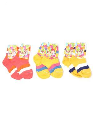 Носки ЕСКО. Цвет: желтый, коралловый, оранжевый