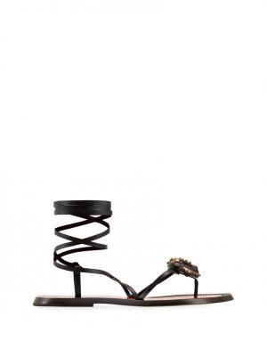 Кожаные сандалии Valentino. Цвет: черный