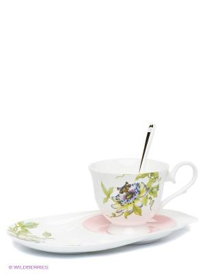 Чайная пара Итальянская Роза (Pavone) Pavone. Цвет: белый, зеленый