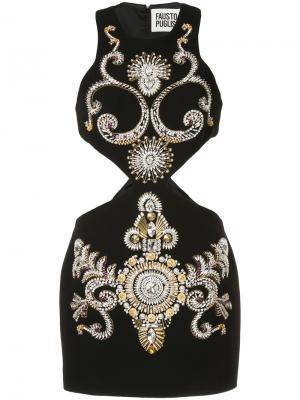 Декорированное платье мини с вырезными деталями Fausto Puglisi. Цвет: чёрный