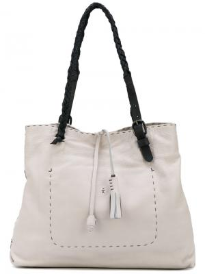 Tassel appliques contrast shoulder bag Henry Beguelin. Цвет: белый