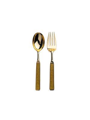 Набор столовых приборов, 2 пр. в п/у Elff Ceramics. Цвет: золотистый