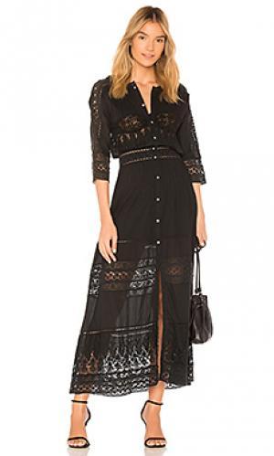 Макси платье beth LoveShackFancy. Цвет: черный
