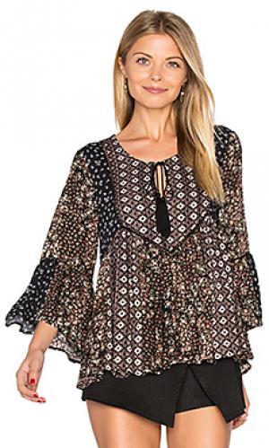 Мозаичная цветочная блуза Ella Moss. Цвет: черный