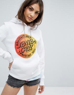 Santa Cruz Oversize-худи с выцветшим принтом логотипа. Цвет: белый