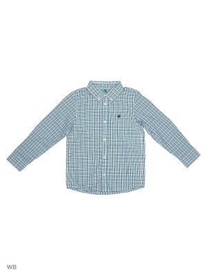 Рубашка United Colors of Benetton. Цвет: зеленый, синий