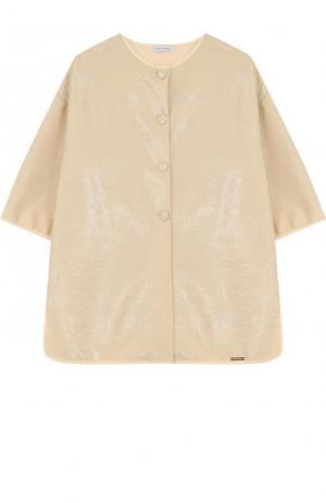 Пальто прямого кроя с круглым вырезом и металлизированной отделкой I Pinco Pallino. Цвет: золотой