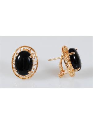 Серьги Lotus Jewelry. Цвет: золотистый, черный