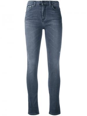 Облегающие укороченные джинсы Blk Dnm. Цвет: серый