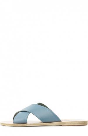 Кожаные шлепанцы Thais Ancient Greek Sandals. Цвет: голубой