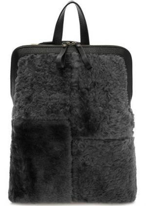Серая меховая сумка-рюкзак на молнии Io Pelle. Цвет: серый