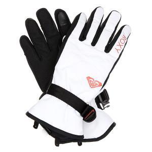 Перчатки сноубордические женские  Rxjettysolidglv Bright White Roxy. Цвет: черный,белый
