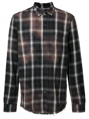 Stained effect plaid shirt Amiri. Цвет: коричневый