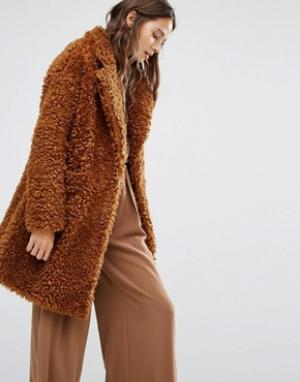 Paisie Плюшевое пальто. Цвет: коричневый