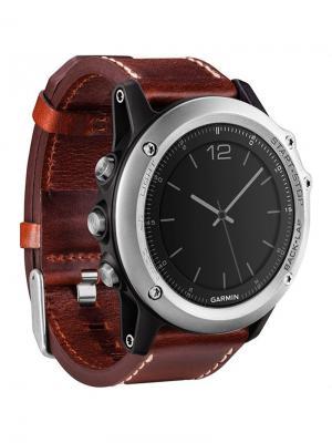 Умные часы Fenix 3 Sapphire с кожаным ремешком GARMIN. Цвет: серебристый