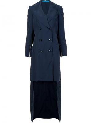 Асимметричное двубортное пальто Jonathan Cohen. Цвет: синий