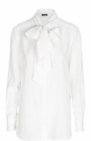 Шелковая блуза прямого кроя с бантом Kiton. Цвет: белый
