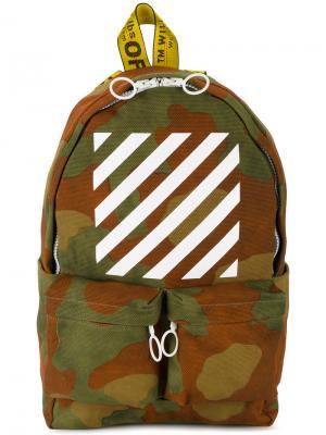 Камуфляжный рюкзак с полосками Off-White. Цвет: зелёный