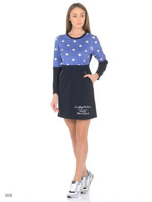 Платье-туника MARSOFINA. Цвет: лазурный, белый