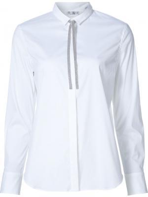 Рубашка с завязками на воротнике Brunello Cucinelli. Цвет: белый