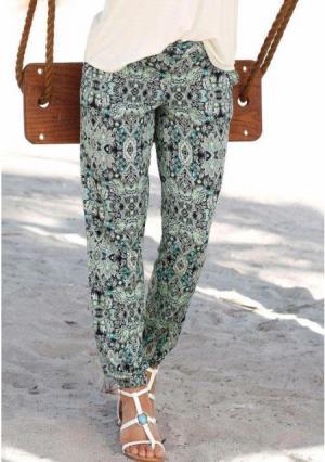 Пляжные брюки Lascana. Цвет: темно-синий с рисунком