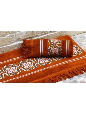 Набор махровых полотенец НОРРИС терракот (50*90+70*140) TOALLA. Цвет: терракотовый