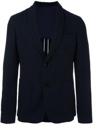 Блейзер с лацканами-шалька и узором Paolo Pecora. Цвет: синий