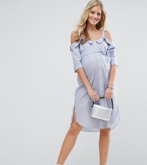 ASOS Maternity Платье-рубашка с открытыми плечами и отворотами PETITE. Цвет: синий