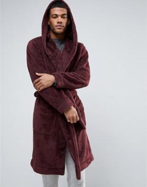 ASOS Флисовый халат с капюшоном. Цвет: красный