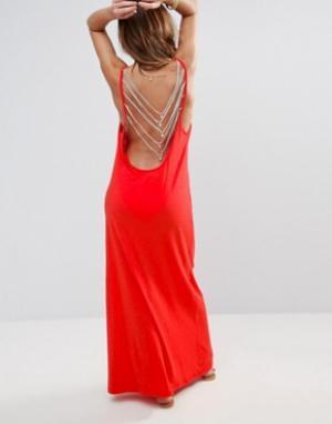 Pitusa Пляжное платье с открытой спинкой. Цвет: красный