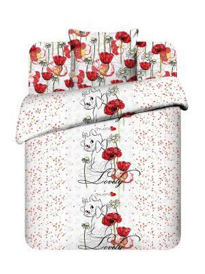 Комплект постельного белья из поплина, Дисней Василек. Цвет: белый, красный