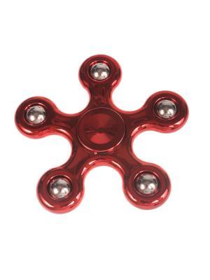 Спиннер глянцевый металлик улучшенный с шариками-утяжелителями однотонный, красный Радужки. Цвет: красный