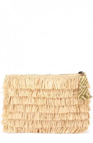 Клатч из рафии на молнии Sans-Arcidet. Цвет: бежевый