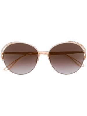 Круглые солнцезащитные очки с кристаллами Swarovski Elie Saab. Цвет: жёлтый и оранжевый