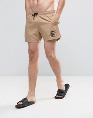 SikSilk Светло-бежевые шорты для плавания в стиле ретро. Цвет: светло-серый