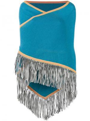 Накидка с бахромой Antonia Zander. Цвет: синий
