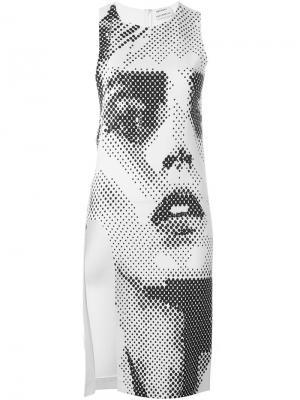 Приталенное платье со шлицей сбоку Anthony Vaccarello. Цвет: белый
