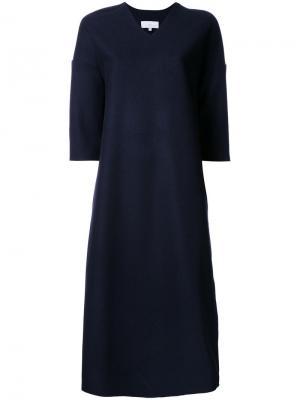 Платье c V-образным вырезом Studio Nicholson. Цвет: синий