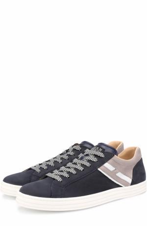Кожаные кеды на шнуровке с текстильными вставками Hogan. Цвет: темно-синий