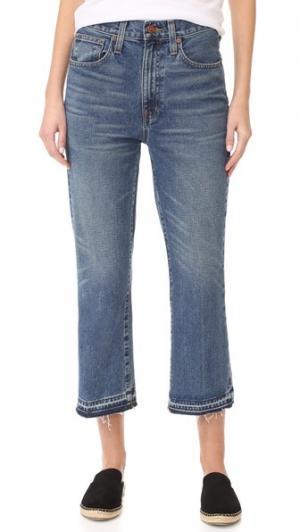 Свободные укороченные расклешенные джинсы с необработанным низом Madewell. Цвет: выцветший callahan