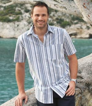 Рубашка из Гофрированного Хлопка AFM. Цвет: в-полоску