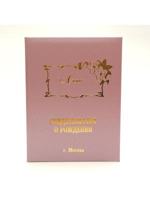 Именная обложка для свидетельства о рождении Анна г.Москва Dream Service. Цвет: розовый