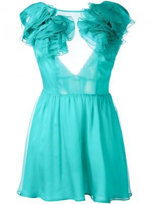 Платье с рюшами на плечах Daniele Carlotta. Цвет: зелёный