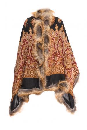 Палантин из шерсти с отделкой меха лисы 139139 Kaminsky. Цвет: разноцветный