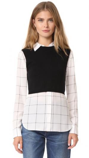 Комбинированная рубашка Lucinda с трикотажным жилетом alice + olivia. Цвет: черный/белая клетка