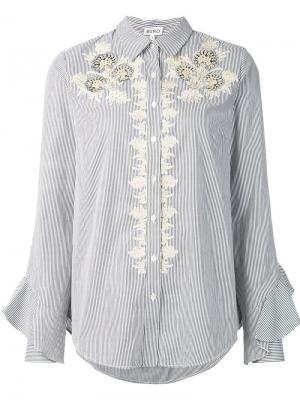 Рубашка с кружевной отделкой Suno. Цвет: серый