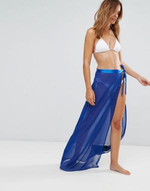 Lipsy Пляжная юбка с завязками и разрезом. Цвет: синий