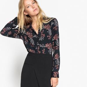 Блузка с воротником-поло и длинными рукавами SEE U SOON. Цвет: рисунок/фон черный